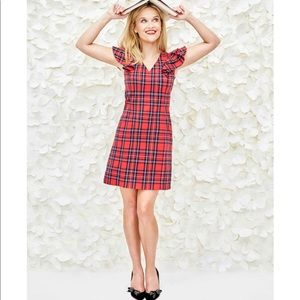 NWT Draper James Plaid Ruffle Shoulder Dress